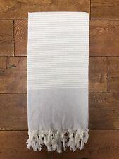 Large Silver Stripe Hammam Towel 100% Turkish Cotton Beach, Bath, Yoga