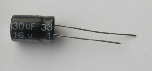 paquete de 1-5 105 C Condensador electrolítico Radial 8 X 12.5mm.. 330uF 16V