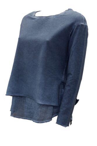 Deha Lunga Cotone T Doppiata shirt Zucchero Carta Donna Da Girocollo Manica q0q8X