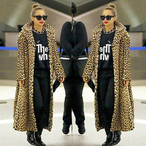 AU-Women-Leopard-Print-Faux-Fur-Woolen-Long-Sleeve-Coat-Jacket-Overcoat-Outwear