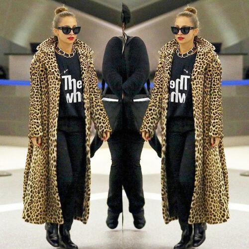 Capispalla sintetica stampa in pelliccia con con lunghe maniche donna leopardata rwUSOr