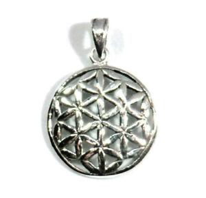 Lebensblume-Anhaenger-925-Silber-Collier-mit-Silberkette-oder-Lederband-40cm-Neu