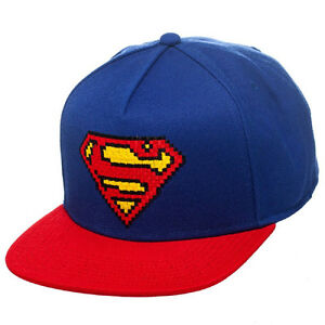 ... LOGO-Ufficiale-Superman-Pixel-Regolabile-Cappellino-Cappello 3d227e4974b2
