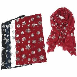 Christmas Scarf.Details About New Womens Large Christmas Scarf Snowflake Silver Foil Glitter Print Wrap Shawl