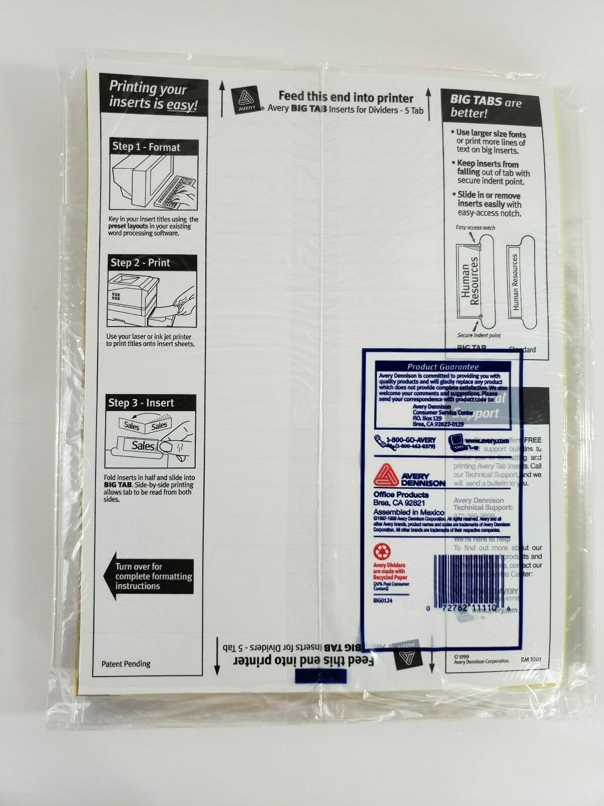 Avery Dennison Ave-11110 Worksaver Big Tab Insertable Divider - 5 X
