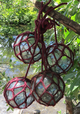 """JAPANESE GLASS  Fishing FLOATS Lot-5 3-3.5/"""" Maroon Net Long String AUTHENTIC!"""