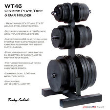 NEW Body-Solid WT46 OLYMPIC PLATE TREE & BAR HOLDER Weight Rack in Black Style