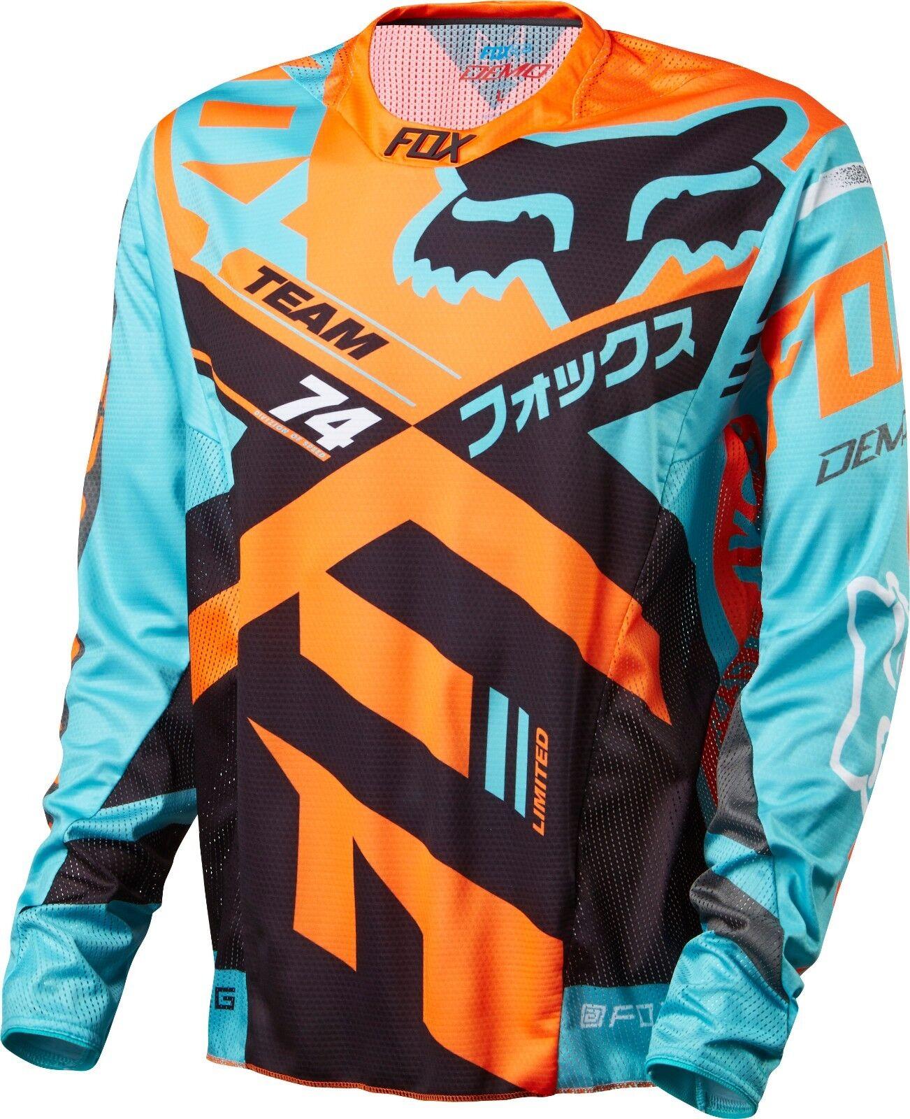 Fox Racing Demo Long Sleeve L S Jersey Aqua