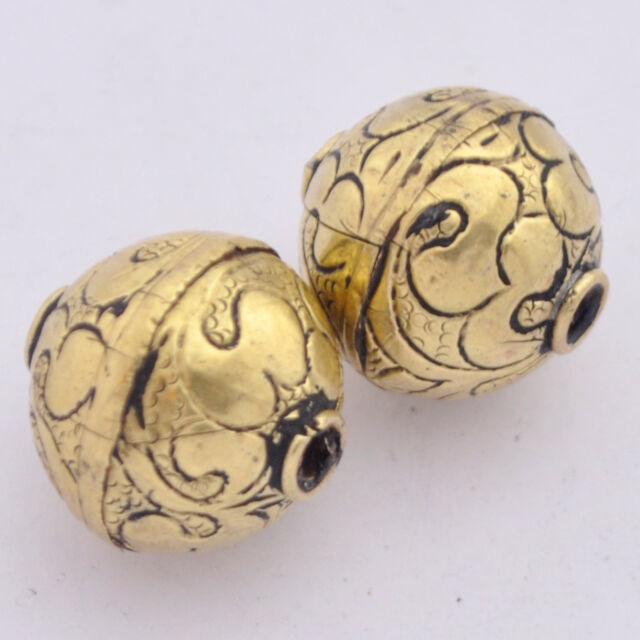 Repousse Brass 2 Beads HandmadeTibetan Nepalese Ethnic Tribal Nepal AA232