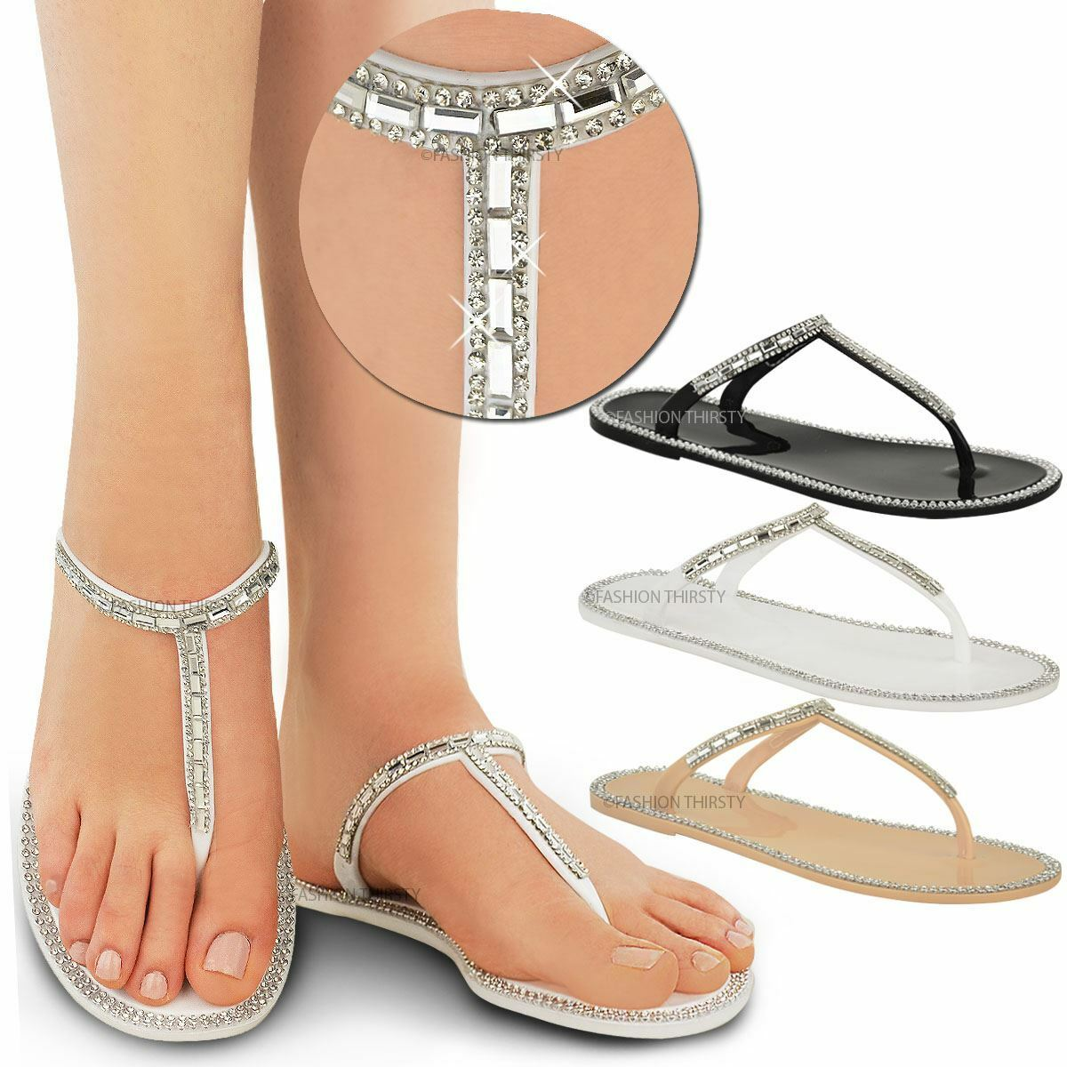 Man's/Woman's Womens Ladies Diamante T Bar Flat Flops Strappy Jelly Sandals Flip Flops Flat Holiday Size quality Settlement Price List of explosions GB1087 6b4062