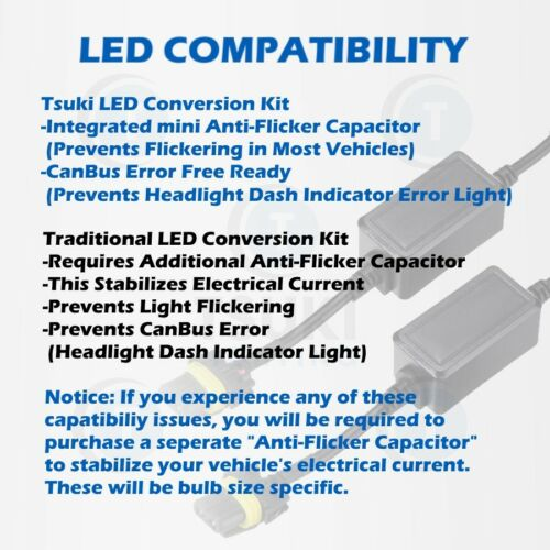 Low-Beam 6000K TSUKI FC 9006 1999 to 2012 Honda Accord 4D LED Headlight Bulbs