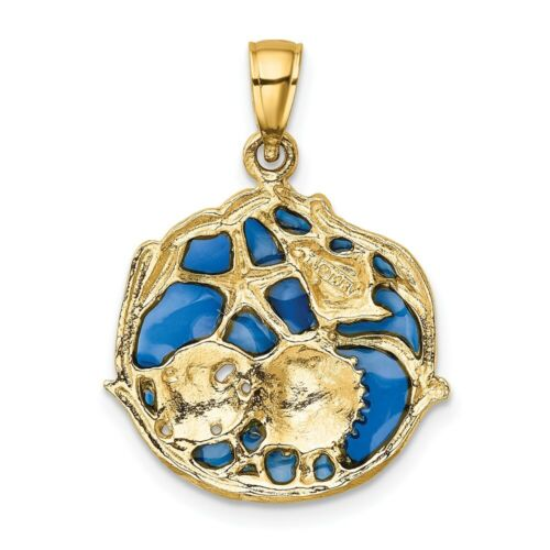 Details about  /Real 14kt Yellow Gold Blue Enameled Shell Cluster Pendant