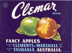 SALE-Vintage-Tasmania-Apple-Case-Labels-Fruit-Art-Poster-034-bakers-dozen-E-034-13