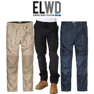 Mens-Elwood-Work-Elastic-Pants-Cotton-Canvas-Tough-Tradie-Phone-Pocket-EWD104