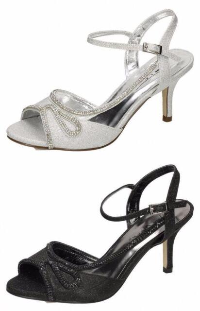 F10579 Ladies Anne Michelle Diamante Ankle Strap Sandals