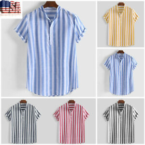 Men/'s Short Sleeve Linen Floral Casual Loose Fit Henley Blouse Tops Tee Summer