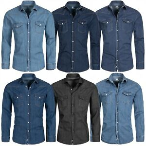 Rock Creek Herren Jeanshemd Denim Blau Herrenhemd Regular Fit Langarm S-XXL M4