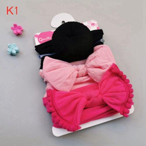 Newborn Baby Girls Infant Striped Soft Hat with Bow Cap Hospital Beanie Headband