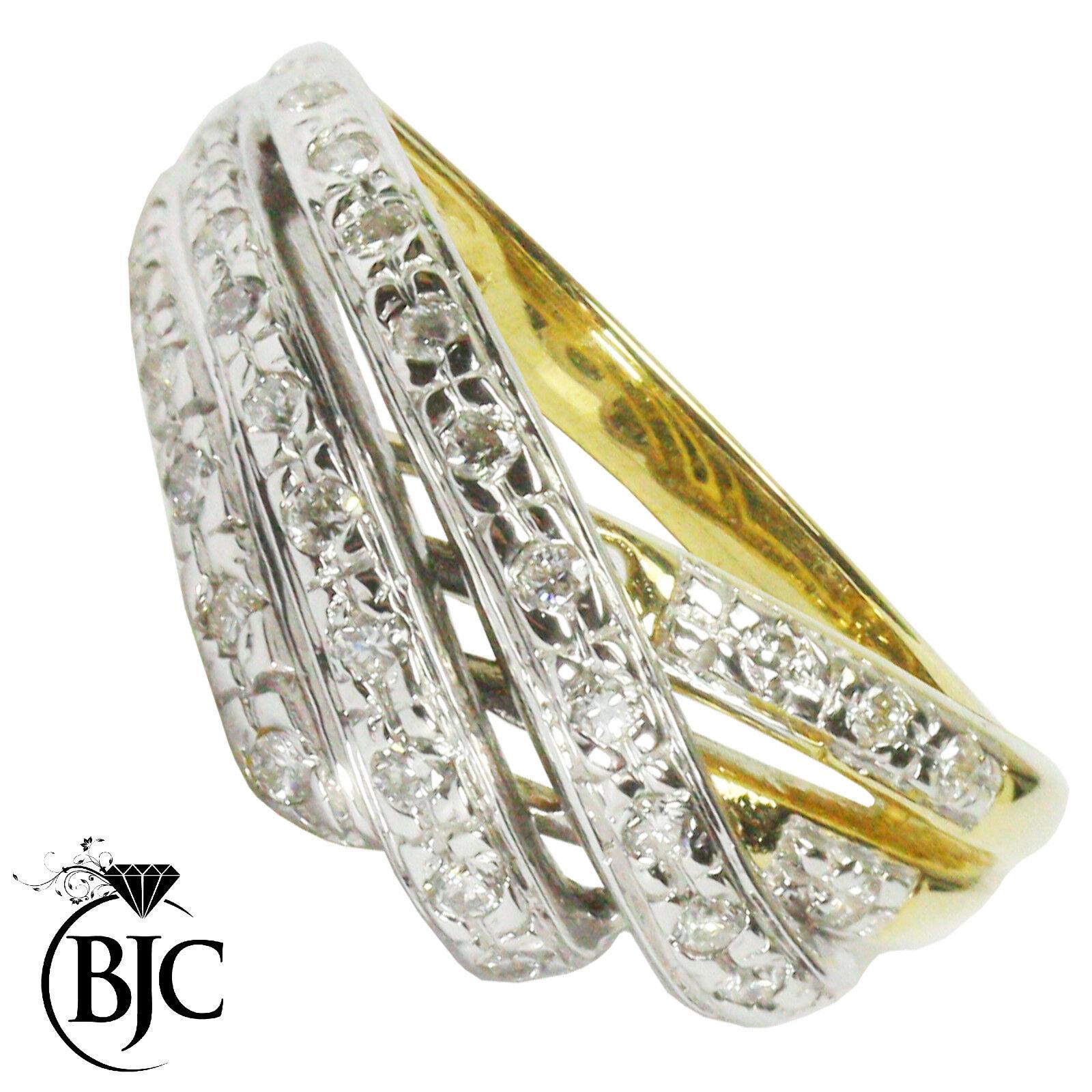 Bjc 18 Karat yellowgold Diamant 0.32ct Kt Größe n Cluster Verlobungsring R114