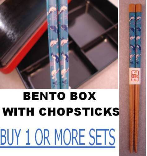 """6.5/"""" small child kids little BLUE WHALE orca  Chopsticks Bento Box With LID"""