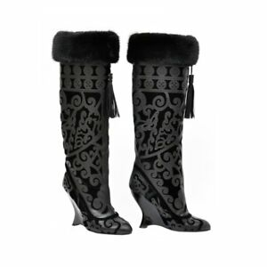 f50fdf3e00 A/W 2004 TOM FORD FOR YVES SAINT LAURENT BLACK LEATHER BOOTS W/ MINK ...