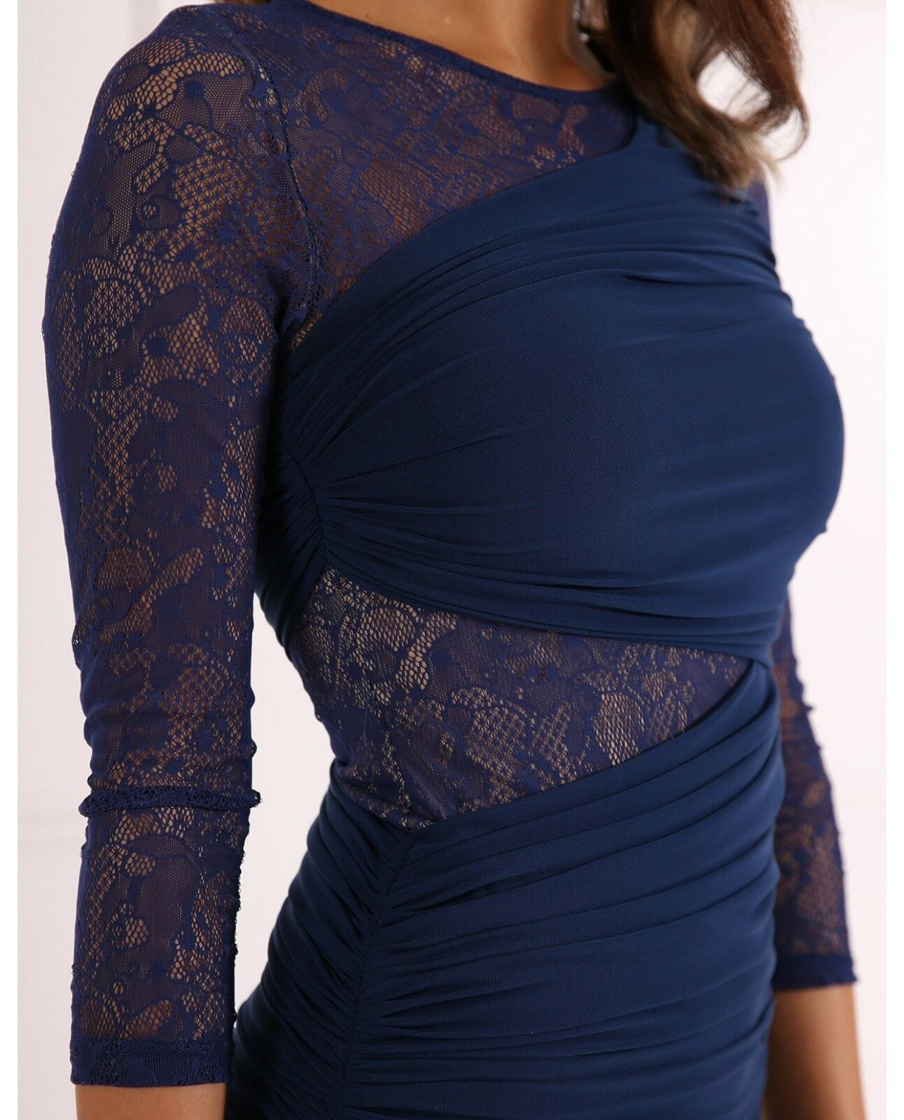 BRAND NEW Forever Unique Woherren Tess Lace Panel Bodycon Bodycon Bodycon Dress  - Navy (Größe 14) ef604b