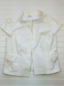 Semantiks-White-Career-Short-Sleeve-Petite-Fit-Button-Up-Jacket-Size-6P-O12