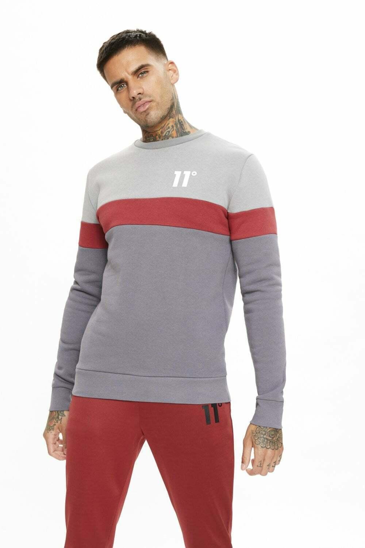 11 Degrees Carbon Panel Sweatshirt- Anthracite/Silver/Red SIZE MEDIUM *BNWT*