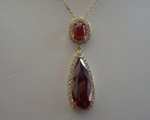 14K YELLOW GOLD OVER 925 STERLING SILVER NECKLACE PENDANT W// 9 CT GARNET//ACCENTS