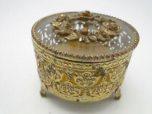 Vintage-Round-Jewelry-Casket-Box-Crystal-w-Filigree-Gilded-Metal-Flower-Top