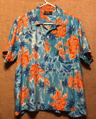 Vintage 1960's Aloha Blue Floral Rayon Hawaiian A… - image 1
