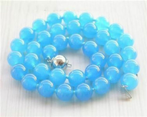 """10 mm RARE Bleu Amérique du Sud Topaz perles rondes Collier 18/"""" AAA"""