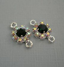 2pcs - Connector Charm Silver Brass Emerald and AB Crystal Rhinestones.