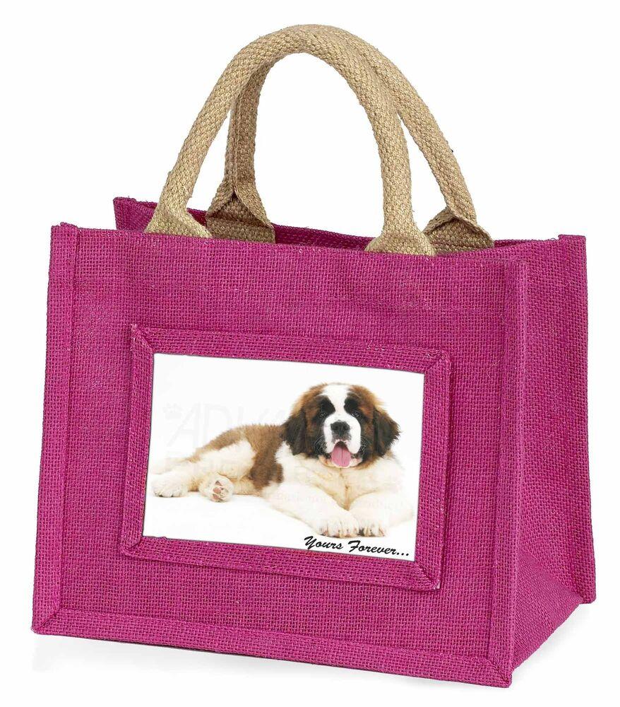 Hospitalier St Bernard Dog 'yours Forever' Little Girls Small Pink Shopping Bag , Ad-sbe6bmp Petit Profit