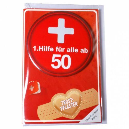 """Geldgeschenk-Karte /""""50/"""" mit 1.Hilfe Metall Button inkl.Umschlag Glückwunschkarte"""