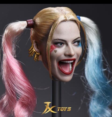"""1//6 Harley Quinn Head Sculpt Suicide Squad amovible Cheveux Pour 12/"""" figure féminine"""