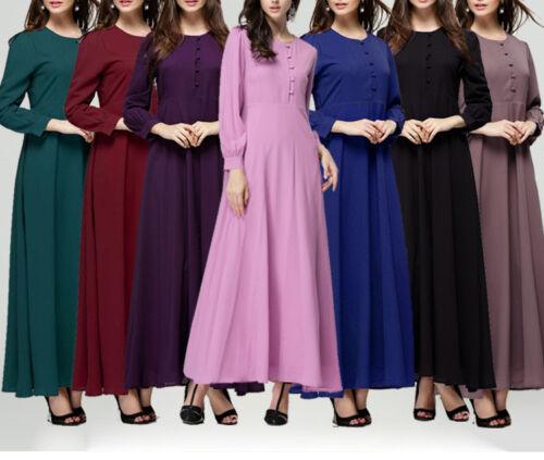 Women Islamic Muslim Kaftan Long Sleeve Chiffon Abaya Beach Party Maxi Dresses