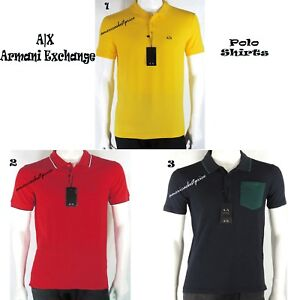 58e52246 ARMANI EXCHANGE AX POLO RUGBY SHIRT NEW MEN'S BLUE NAVY RED YELLOW ...