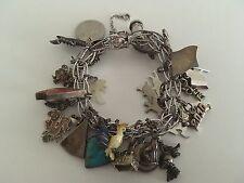 Vintage Elco ? Sterling Silver 925 Twist Charm Bracelet 29 Charms 69.9 Grams