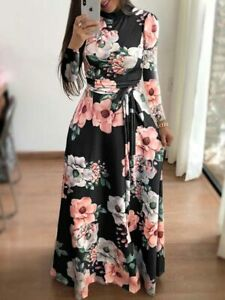 Party-Casual-Womens-Floral-Long-Sleeve-Long-Dress-Tunic-Cocktail-Dresses-Evening