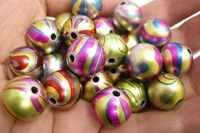 20pc 14mm Mix Color Painted Drawbench Acrylic Beads-8828