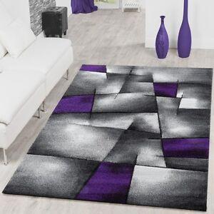teppich modern wohnzimmer teppiche madeira karo lila grau konturenschnitt optik ebay. Black Bedroom Furniture Sets. Home Design Ideas