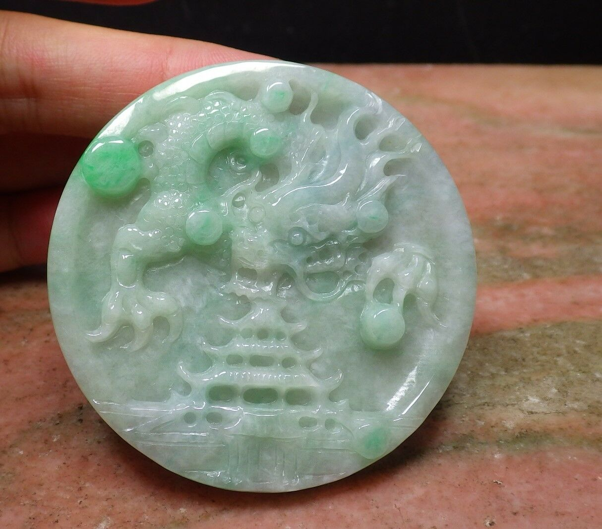 Certified Green 100% Natural A Jade jadeite pendant Dragon Circle 生意兴114344