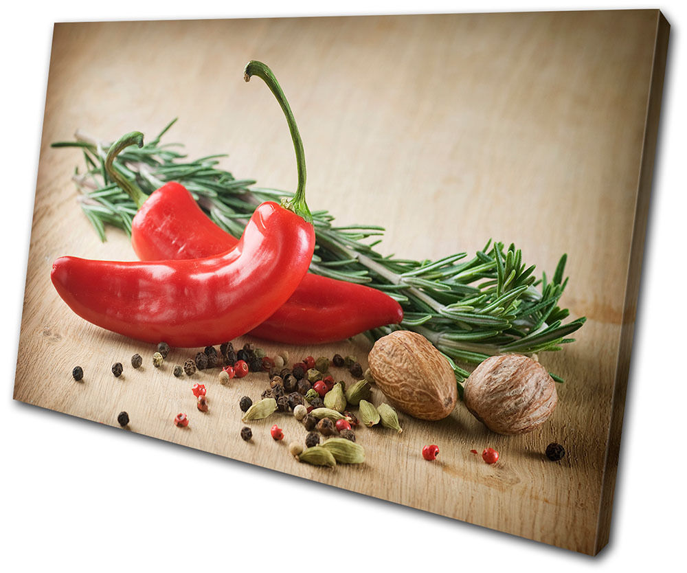 Canvas Art Print Chili Pepper Kitchen Spice Indian Organic Cooking Indian Spice Restaurant b94dd3