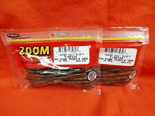 #004-249 Green Pumpkin Purple Gold 2 PACKS ZOOM Finesse Worm 20cnt