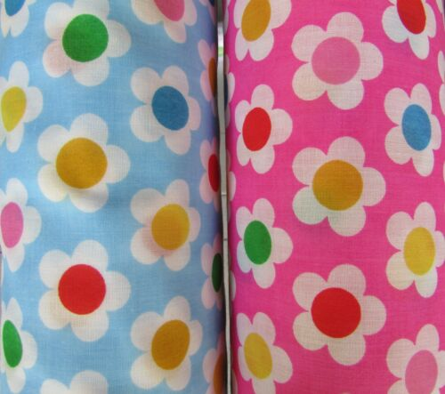 Daisy Buttons Floral Polycotton Fabric Cerise Blue Multi Coloured Button Centres