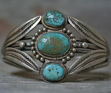Early Navajo Coin Silver Native American Turquoise Cuff Bracelet c.1920's