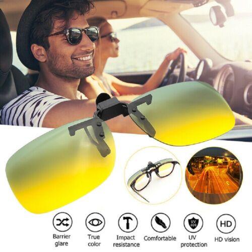 Day Night Vision Polarized UV400 Sunglasses Clip On Anti-Glare Driving