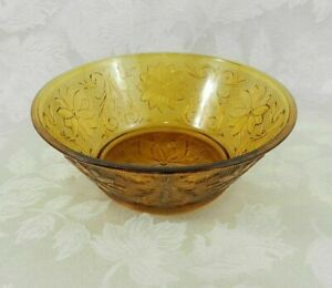 Vintage-Indiana-Glass-Amber-Bowl-Tiara-8-1-2-034-Pressed-Glass-Daisy-Scroll-Pindots