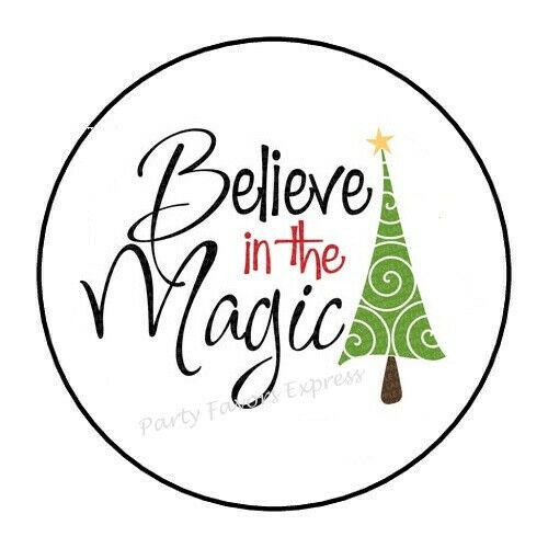 """30 BELIEVE IN THE MAGIC CHRISTMAS ENVELOPE SEALS LABELS STICKERS 1.5/"""" ROUND"""